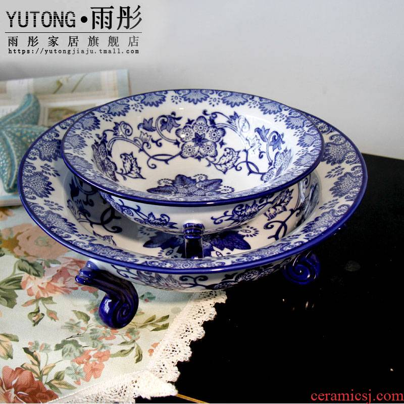 Triangle furnishing articles best ceramic fruit bowl sitting room, bedroom adornment of blue and white porcelain ware jingdezhen ceramic decoration