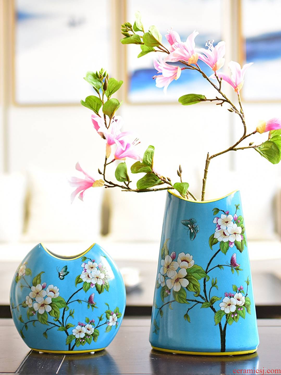 New Chinese style of jingdezhen ceramic flower arranging TV ark, wine furnishing articles American the sitting room porch decoration home decoration