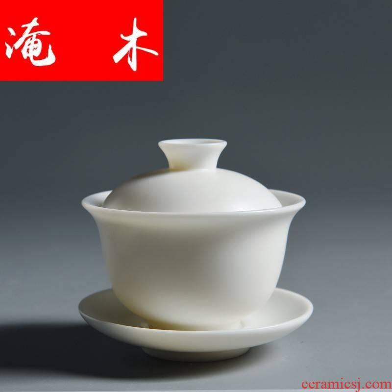 Submerged wood white marble dehua porcelain only three tureen white porcelain ceramic biscuit firing kung fu tea tea bowl hand - made tea cups