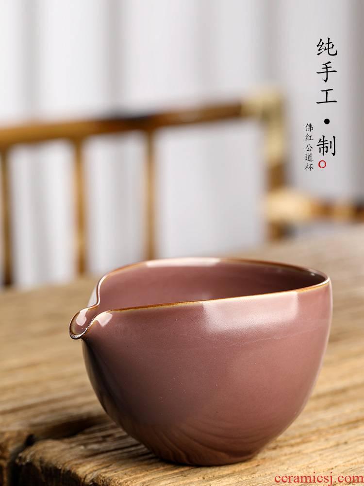 Pure manual fo red jingdezhen kunfu tea fair keller of tea, a single large high - grade ceramic high - temperature tea sets