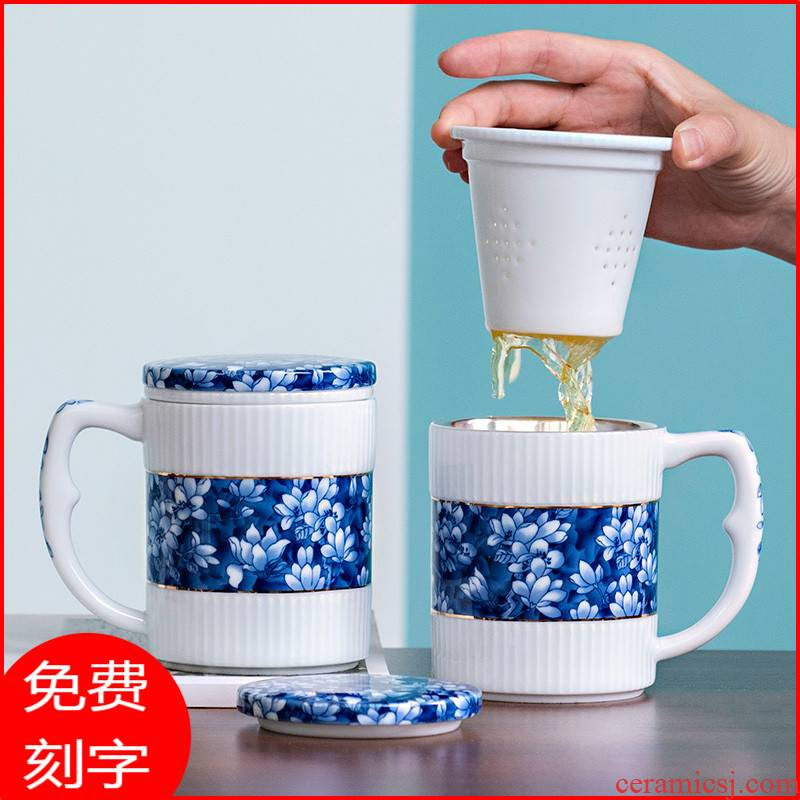 Jingdezhen blue and white porcelain cup lid with handle ceramic glass office female male silver cup 999 sterling silver tank