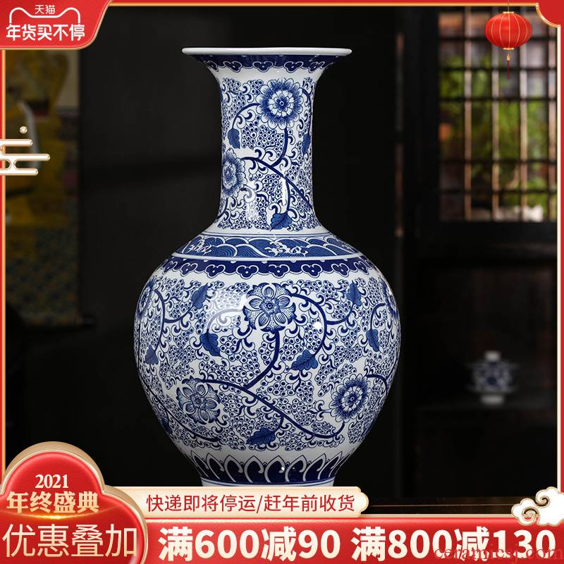 Antique vase of blue and white porcelain of jingdezhen ceramics furnishing articles sitting room be born Chinese style household adornment large arranging flowers
