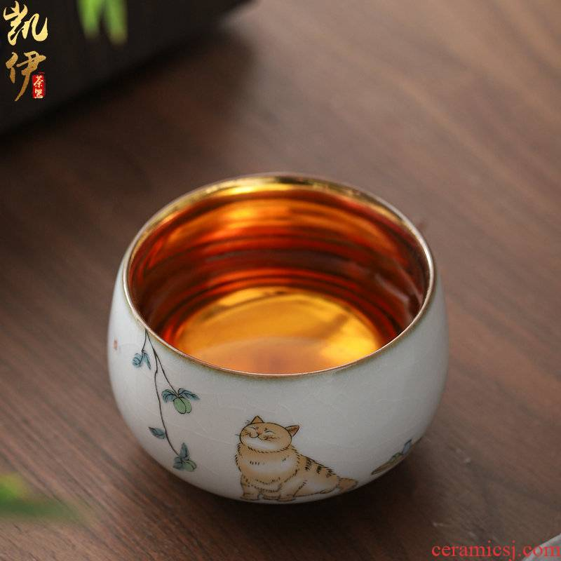 Gold on your up hand - made master cup sample tea cup of jingdezhen ceramic cat kung fu tea set silver cup tea cups