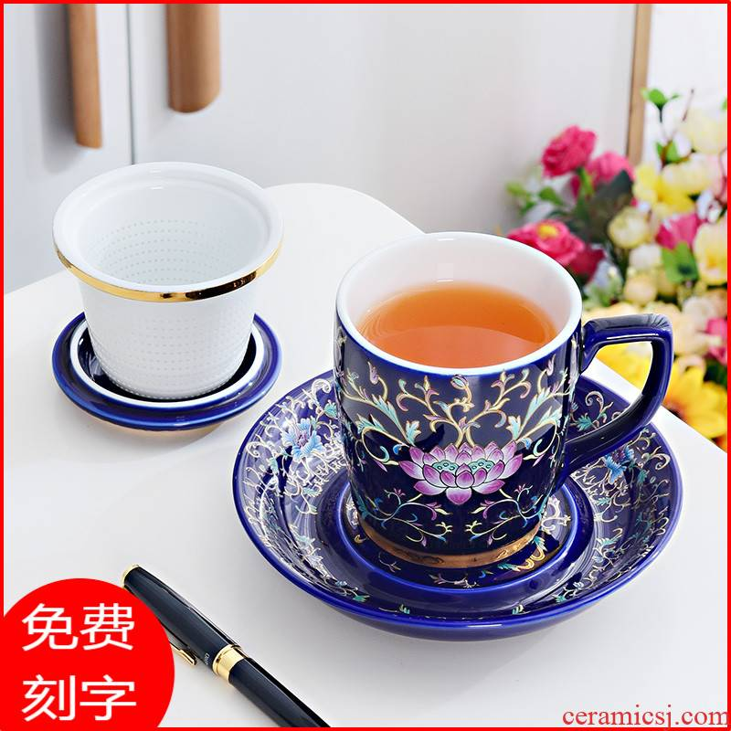 Jingdezhen porcelain enamel tea cup filter high - grade office ms silver cup 999 sterling silver male cup