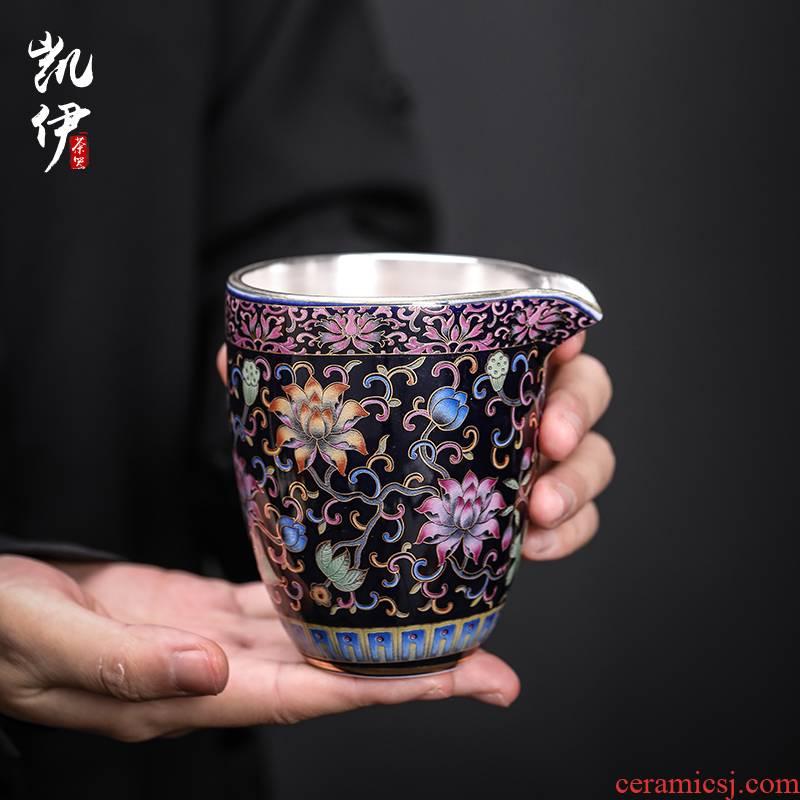 Colored enamel 999 coppering. As yinhua open prosperous kung fu tea set points accessories fair keller of tea ware jingdezhen ceramic tea sea