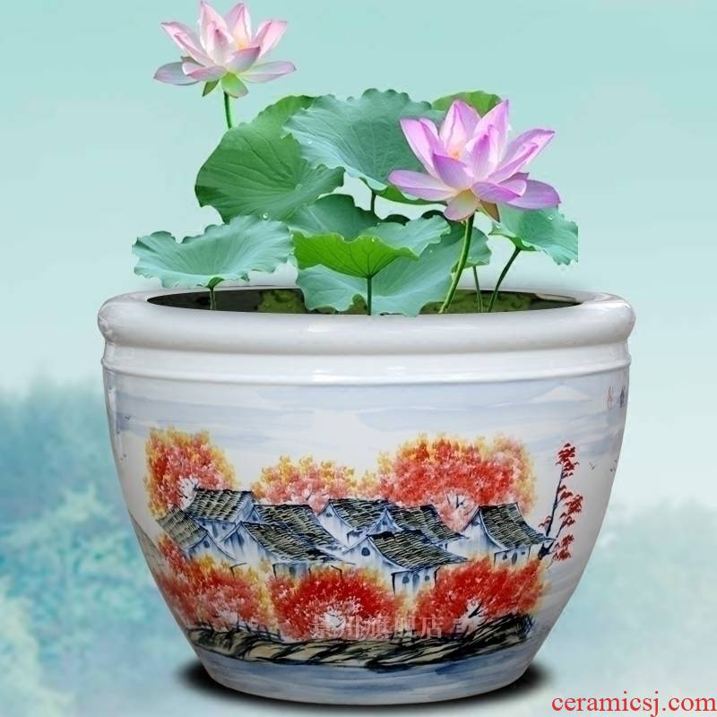 Hand - made nostalgia figure the goldfish bowl of jingdezhen ceramic turtle pond lily cylinder home sitting room courtyard of large furnishing articles