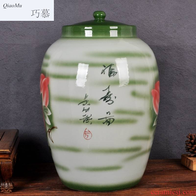 Qiao mu jingdezhen ceramic the packed tea cake ricer box water tanks of oil cylinder cylinder barrel rice jar with cover seal storage tank is moistureproof
