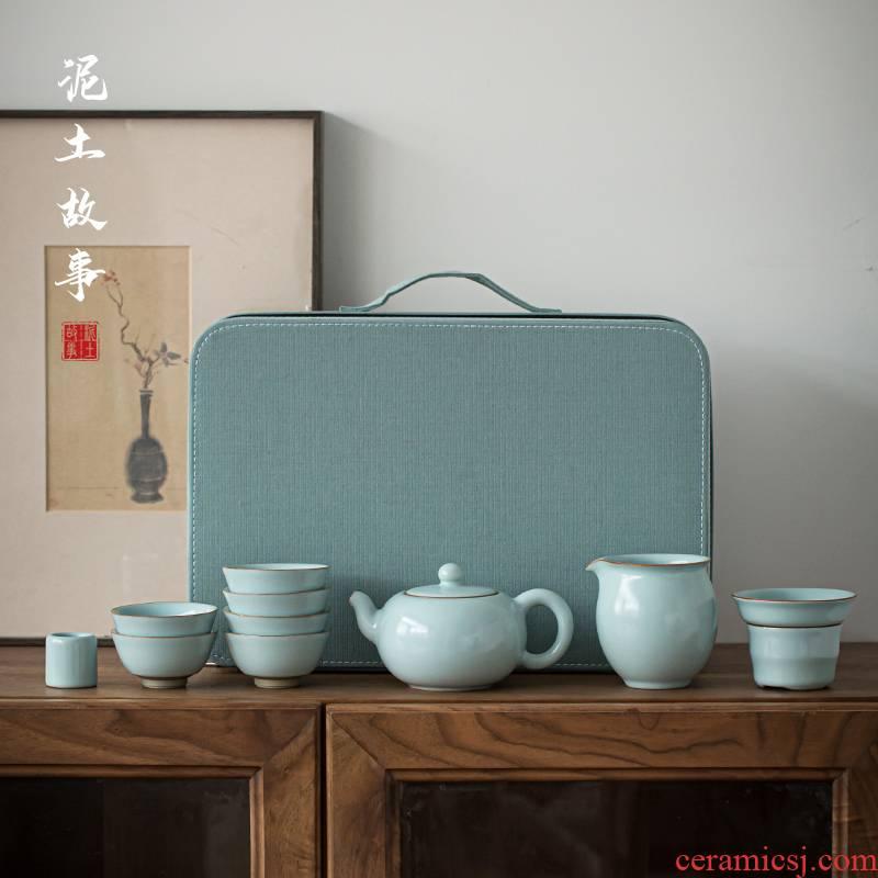 Jingdezhen azure pure manual your up kung fu tea set home sitting room tea ceramic cups xi shi pot