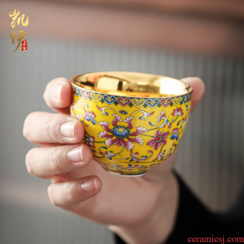 Colored enamel gold palm cup thick bottom sample tea cup tea master cup tea cup jinbei jingdezhen ceramic cups