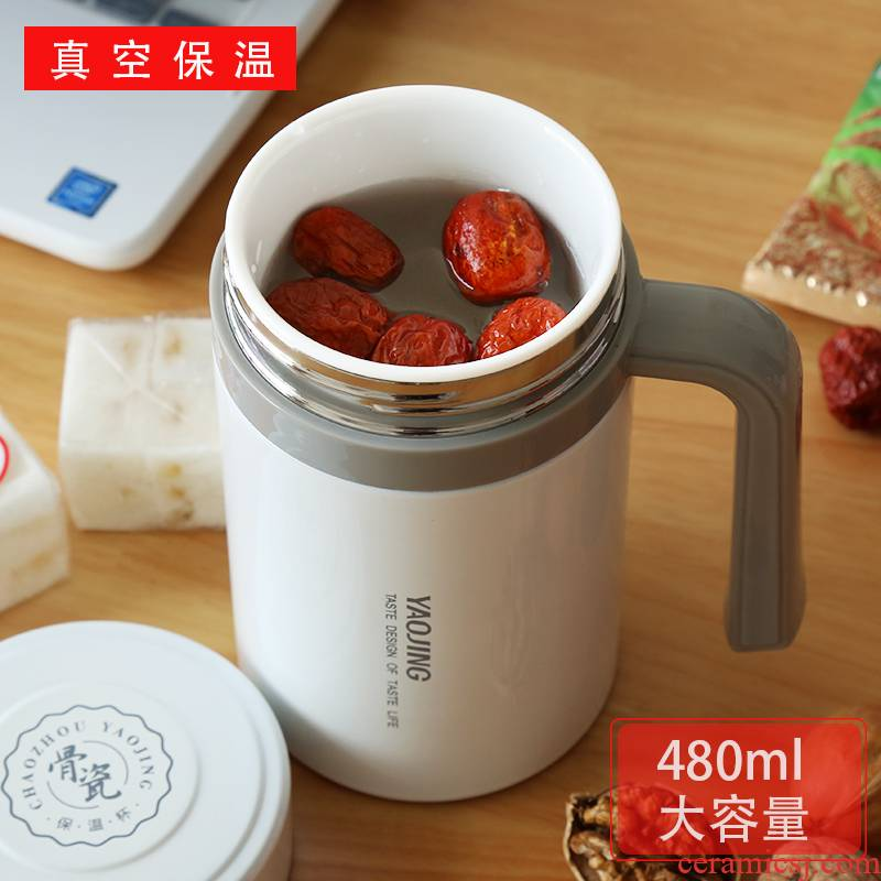 Enamel - lined keep - a warm glass office with handle large capacity ipads China herbal tea water cup business men and women