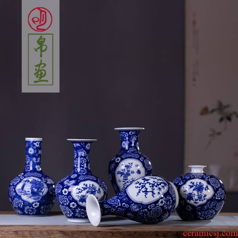 Jingdezhen blue and white flower porcelain porcelain vase archaize sitting room of Chinese style household flower arranging TV ark adornment furnishing articles