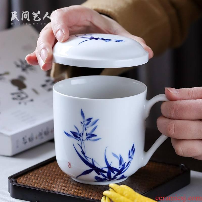 Tea office hand - made glass cup of jingdezhen ceramics filter) separation of Tea Tea cups a single office