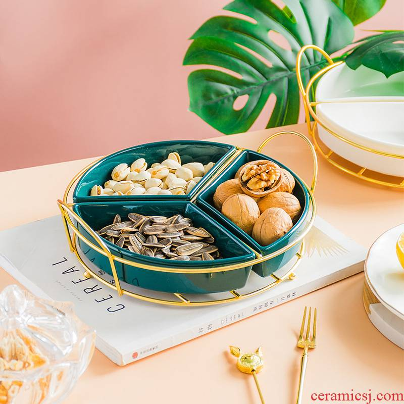Modern skyscrapers receive a case creative ceramic tea table fruit tray dried fruit platter household snack plate high - end snack plate box