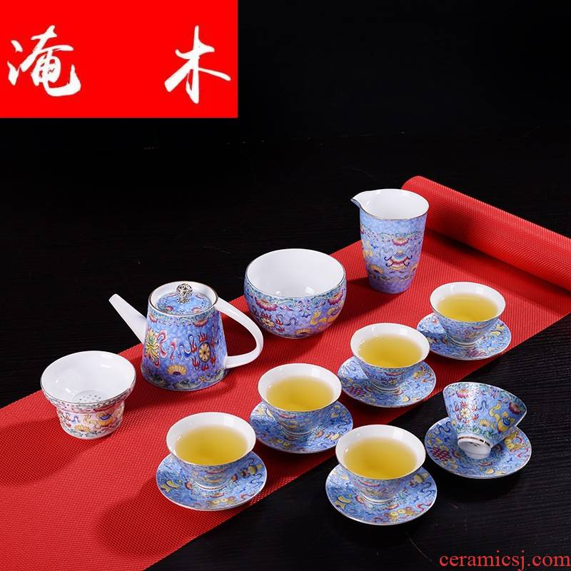 Flooded wooden tea service suit household jingdezhen colored enamel teapot teacup tureen wind restoring ancient ways of a complete set of ceramic tea