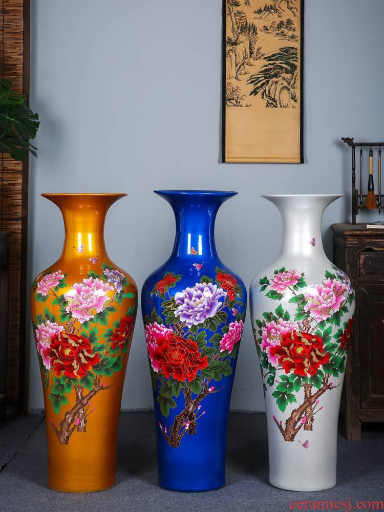 Jingdezhen ceramics glaze peony of large crystal vase Chinese style hotel home furnishing articles sitting room adornment