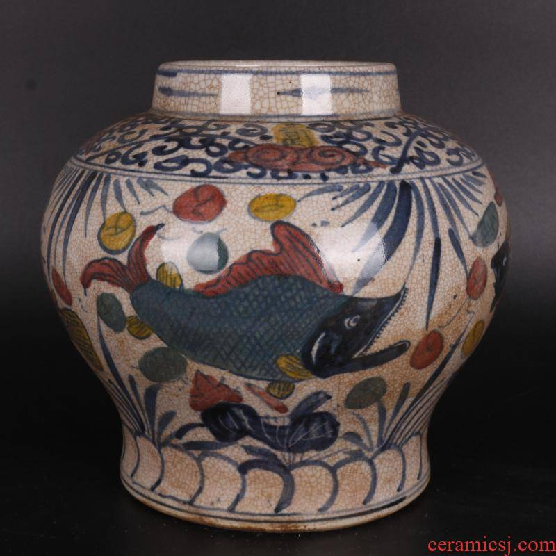 Ming blue and white youligong lines can of antique crafts porcelain altar red fish bath home furnishing articles antique Chinese antique collection