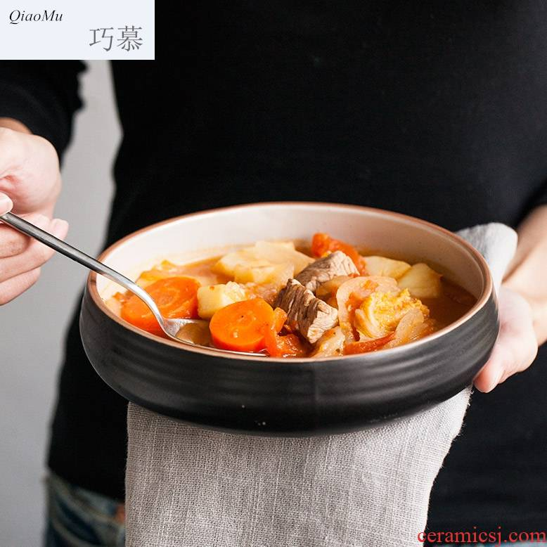 Qiao mu creativity tableware ceramic bowl big rainbow such as bowl bowl stir deep shallow expressions using basin microwave special expressions using the food bowl