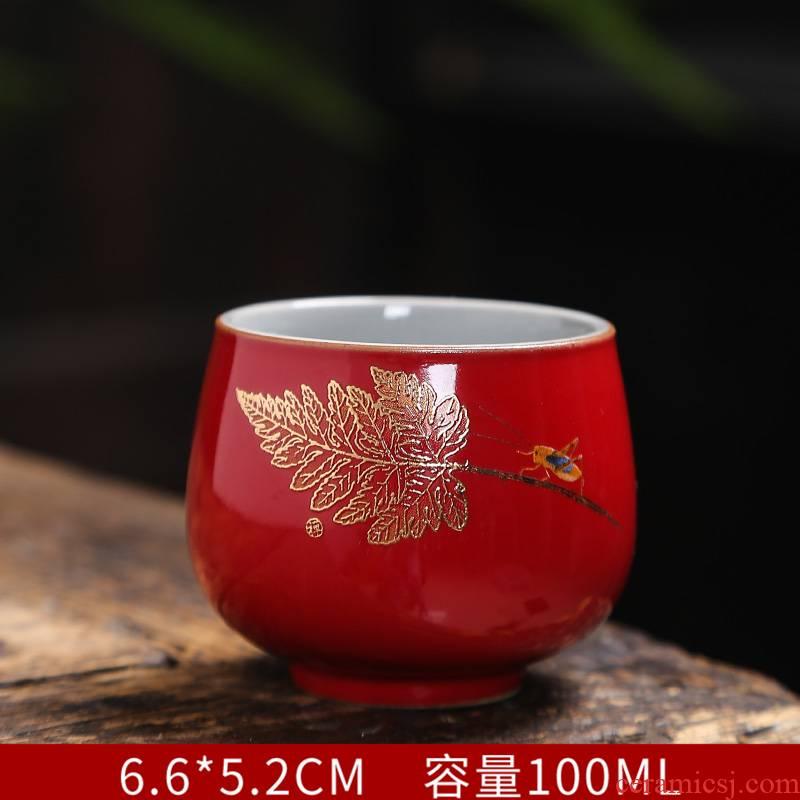 Jingdezhen golden cicada master cup single CPU contracted household kung fu tea cups ceramic sample tea cup a cup of tea