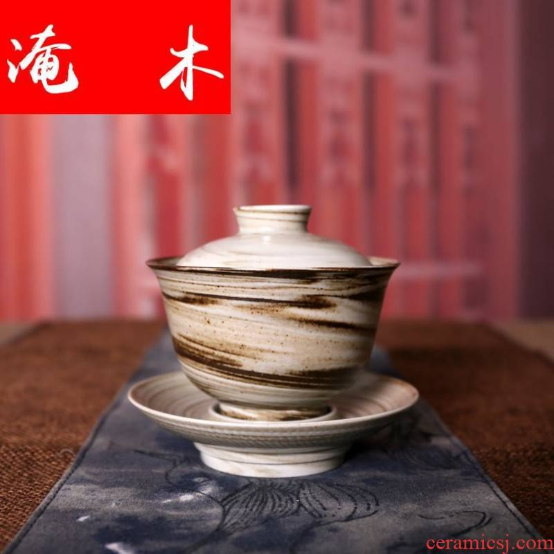 Submerged wood jingdezhen ceramic clay by hand twisted placenta all three tureen hand grasp pot of tea bowl of kung fu tea set