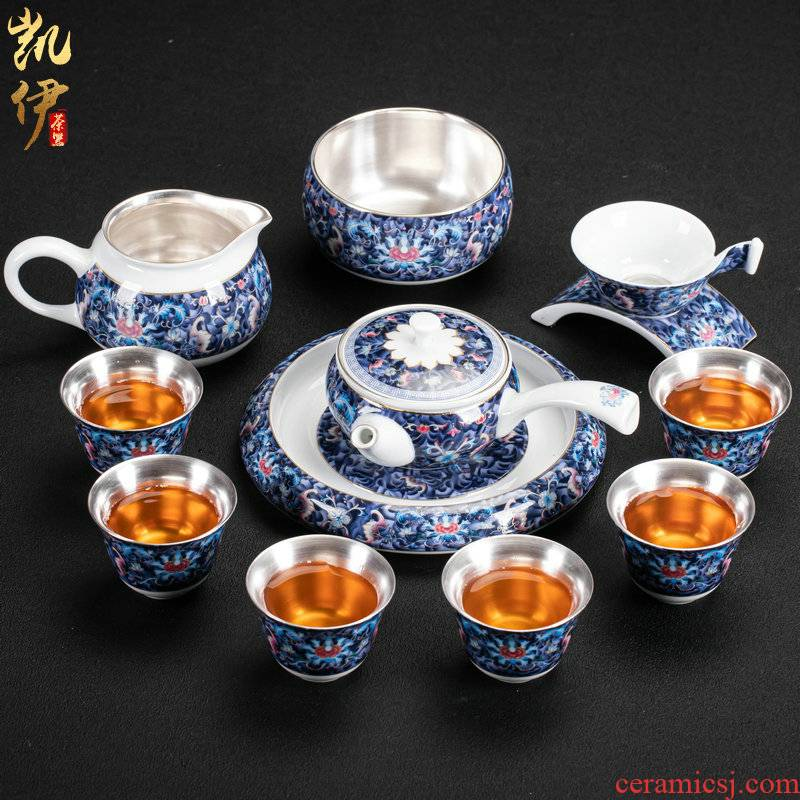 Colored enamel coppering. As silver lotus litres of kung fu tea set silver tureen jingdezhen ceramic tea cup silver cup