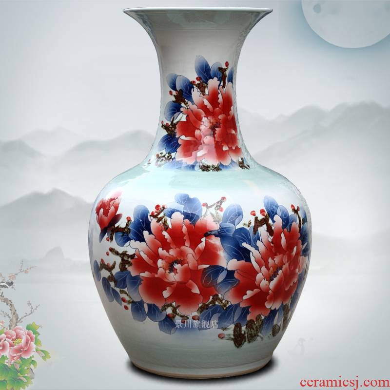 Jingdezhen ceramic hand - made figure peony blooming flowers big vase household living room large bottles of decorative furnishing articles