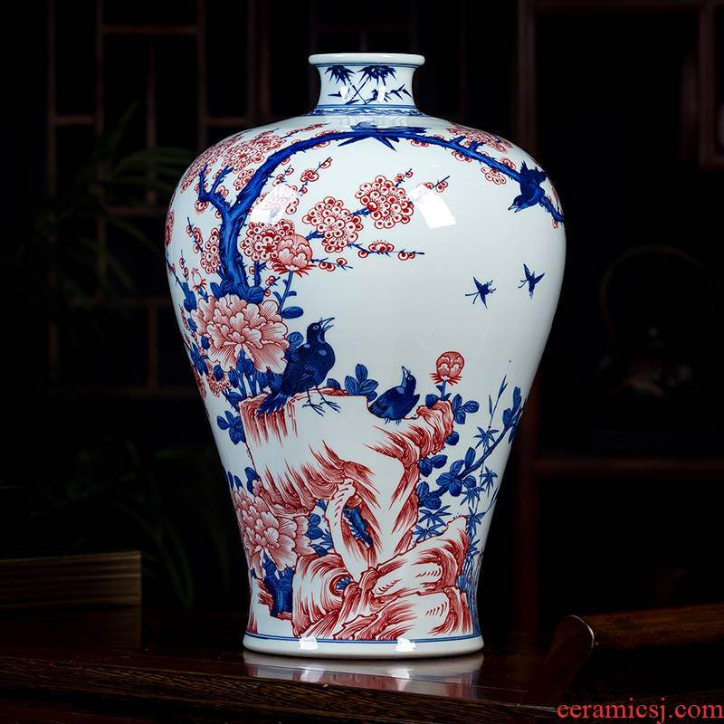 Hand - made name plum flower vase of blue and white porcelain of jingdezhen ceramics name plum bottle of flower arrangement sitting room adornment of Chinese style household furnishing articles