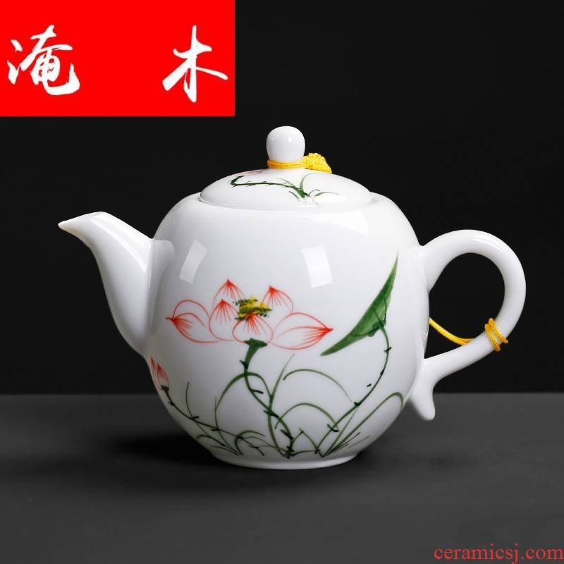 Flooded wooden side with teapot creative move ceramic restoring ancient ways single kunfu tea hand grasp single pot of domestic green office
