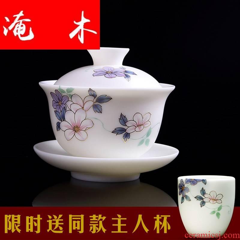 Submerged wood dehua white porcelain biscuit firing manual tureen kung fu tea cups wire inlay enamel three tureen ceramic suet