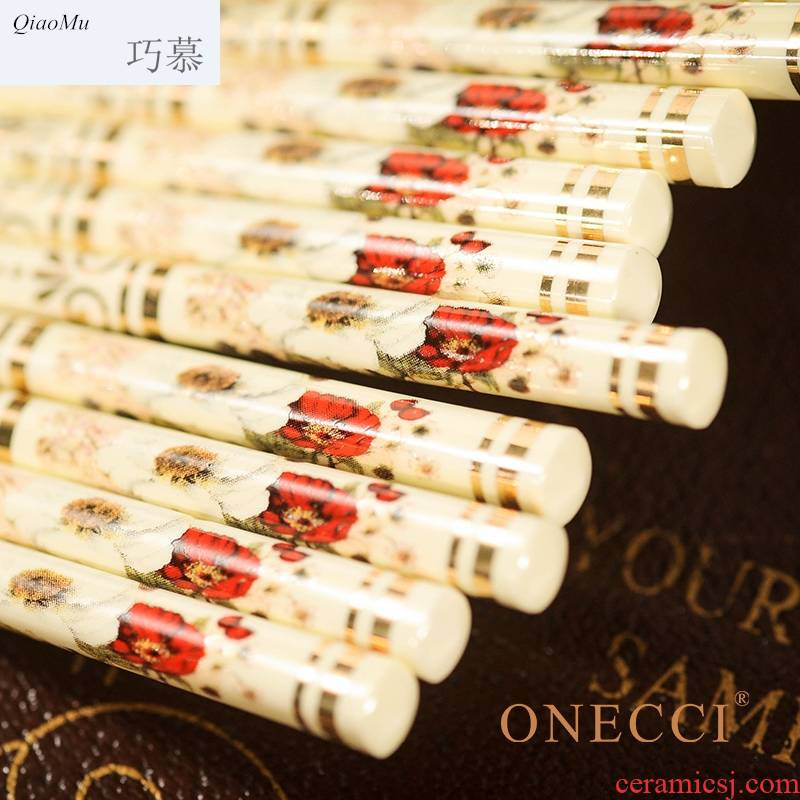 Qiao mu European - style suit household vintage ivory yellow ipads porcelain ceramic chopsticks 10 pairs of family Qiao longed for a wedding gift