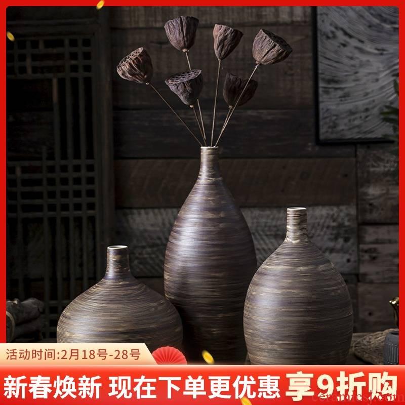 Zen Japanese small retro literary creative ceramic flower vases table dry flower adornment desktop furnishing articles