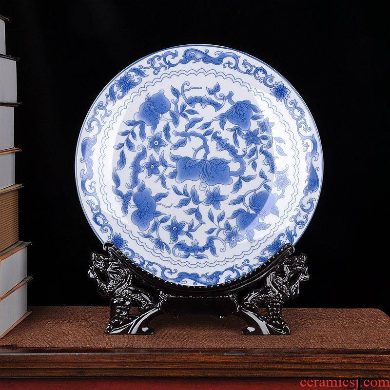 The sitting room of Chinese style household art of jingdezhen ceramics plate QingHuaPan craft supplies creative gifts furnishing articles
