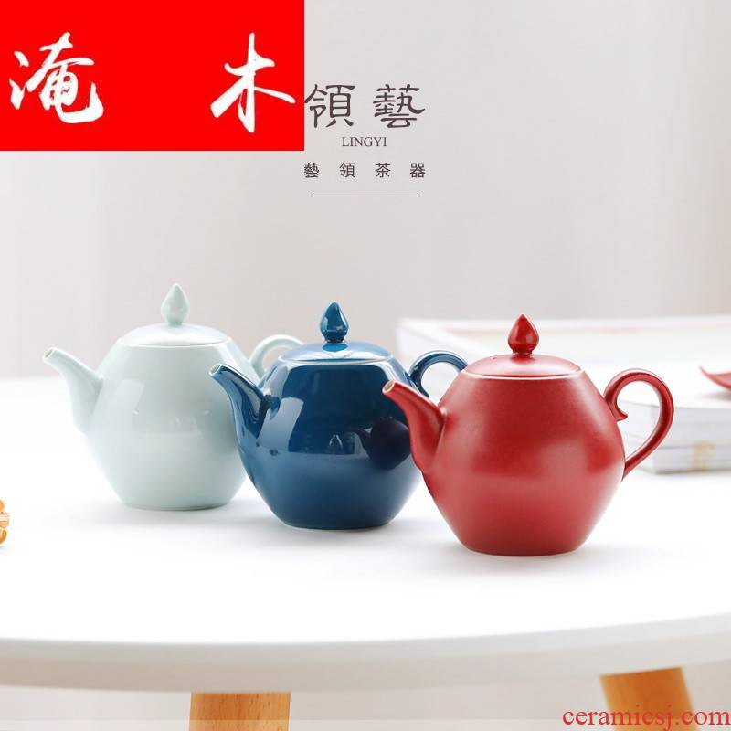 Submerged wood make color ceramic teapot household teapot trumpeter creative the filter single pot contracted household kunfu tea