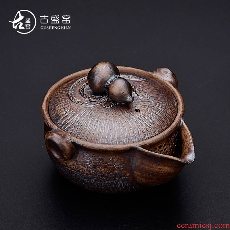 Ancient sheng up new hand - made successively to burn pot of Aquarius Japanese checking coarse after change hand grasp pot of tea