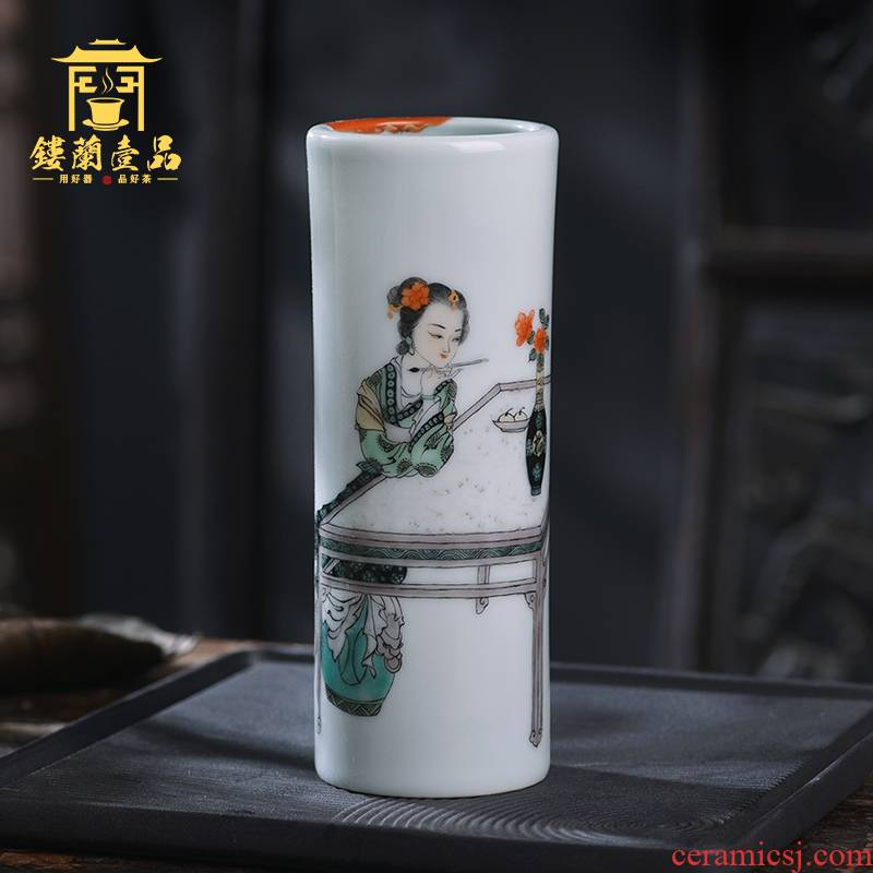 Hand - made colors) for the qing four treasures figure beauty hair brush pot brush pot furnishing articles all Hand jingdezhen characters
