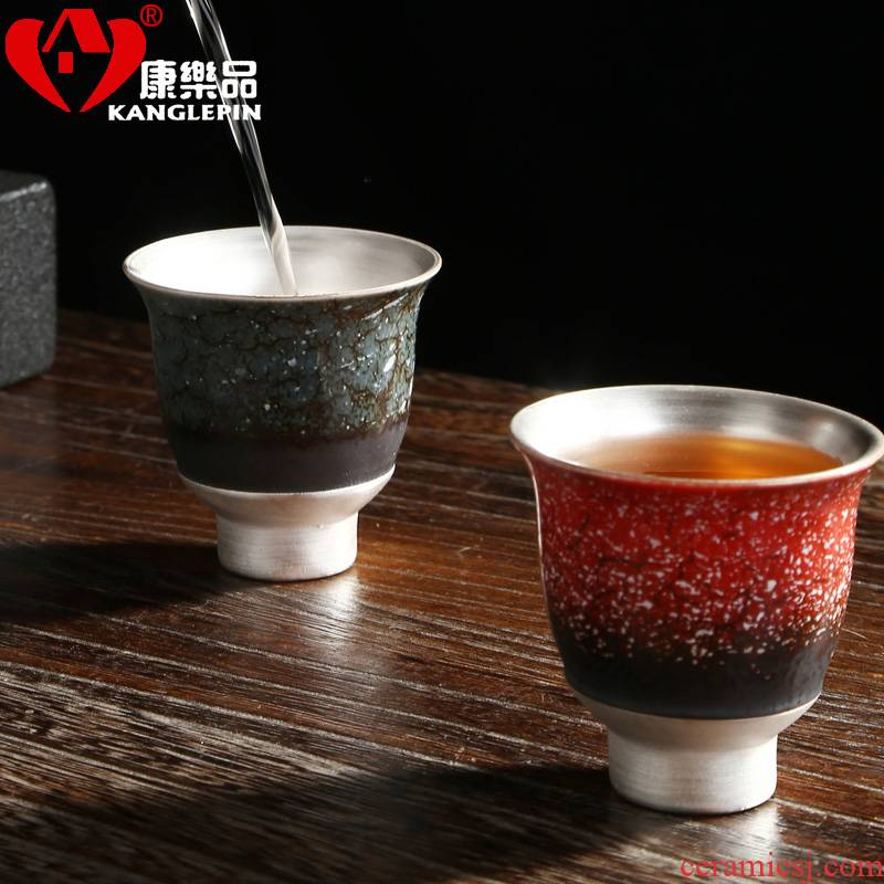 Recreational product kung fu tea set 999 silver tea silver cups ceramic masters cup by hand with silver tea sample tea cup