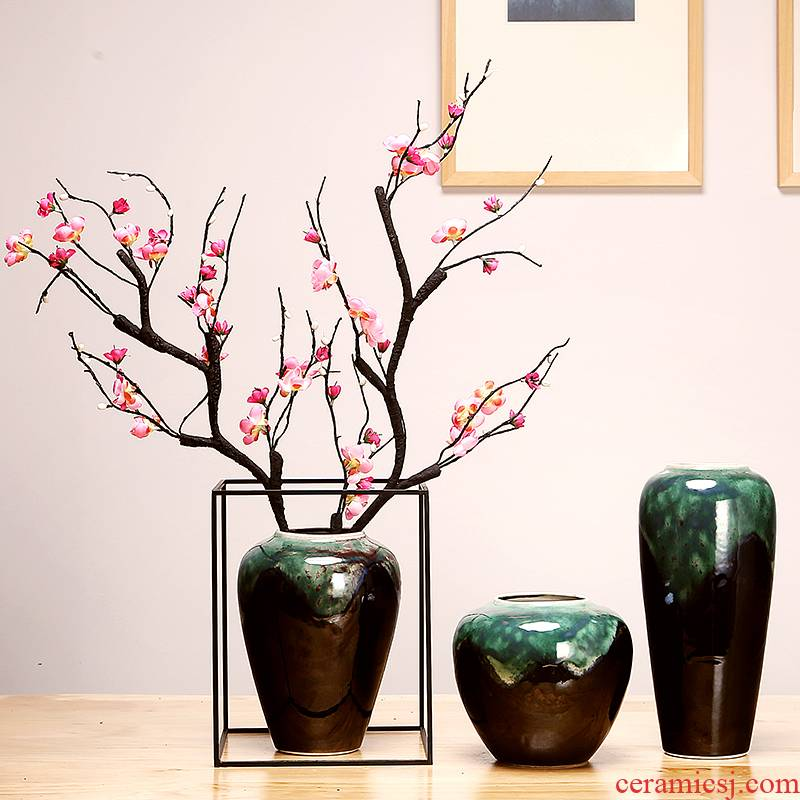 Jingdezhen ceramics by hand vase modern creative new Chinese style living room porch home furnishing articles suit arranging flowers