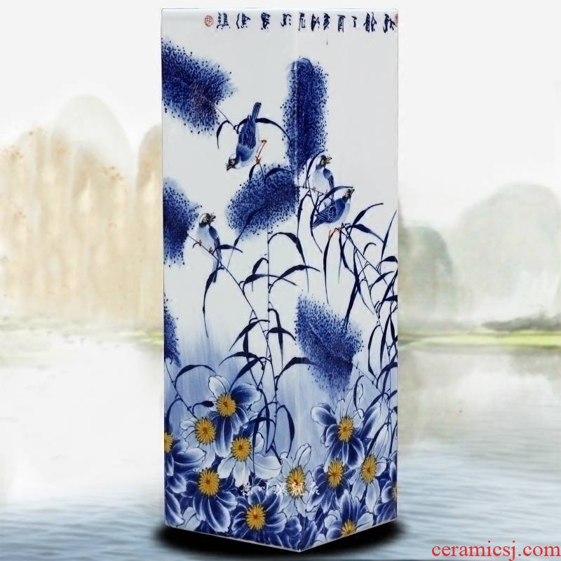 Cixin qiu - yun, jingdezhen blue and white porcelain hand - made figure square bottle home furnishing articles of sitting room mesa study hotel accessory products
