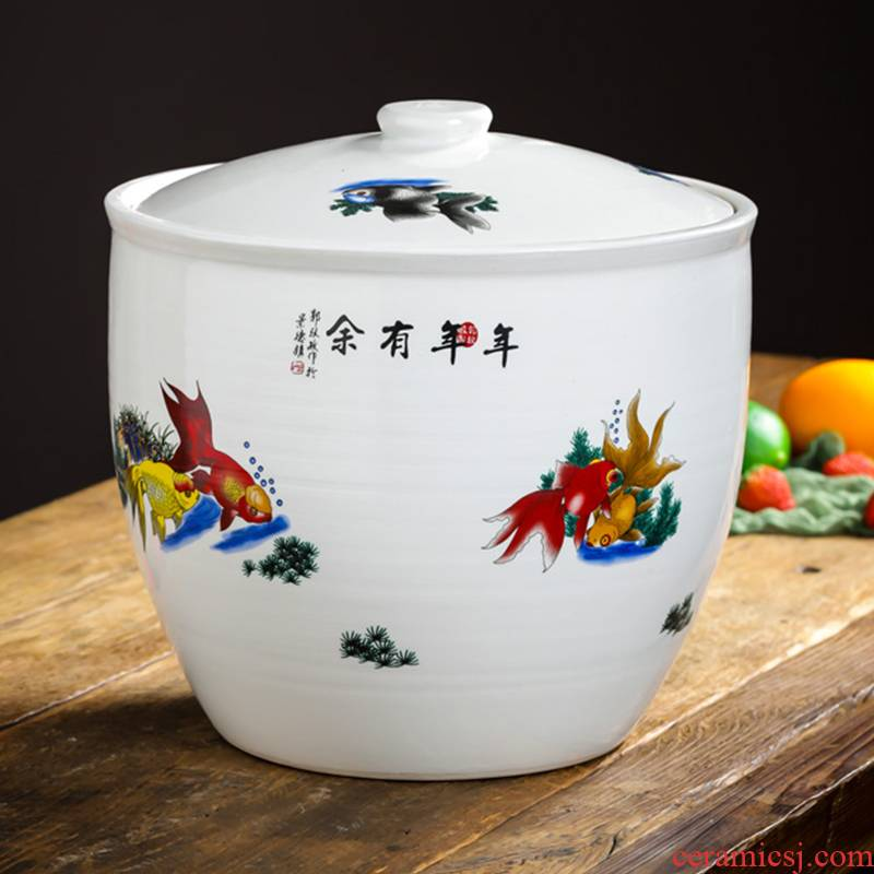 Jingdezhen ceramic barrel with cover loading ricer box 10 jins home 20 jins insect - resistant moistureproof mildew store meter box, meters as cans