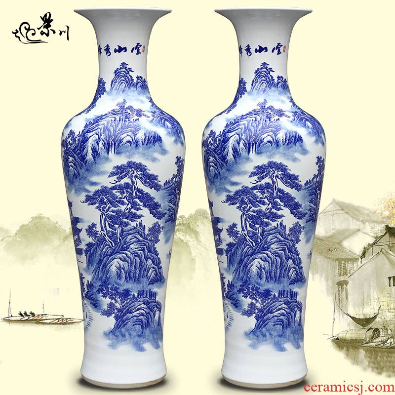 Jingdezhen ceramic hand - made yunshan xiufeng figure of large vases, sitting room of Chinese style household furnishing articles office accessories
