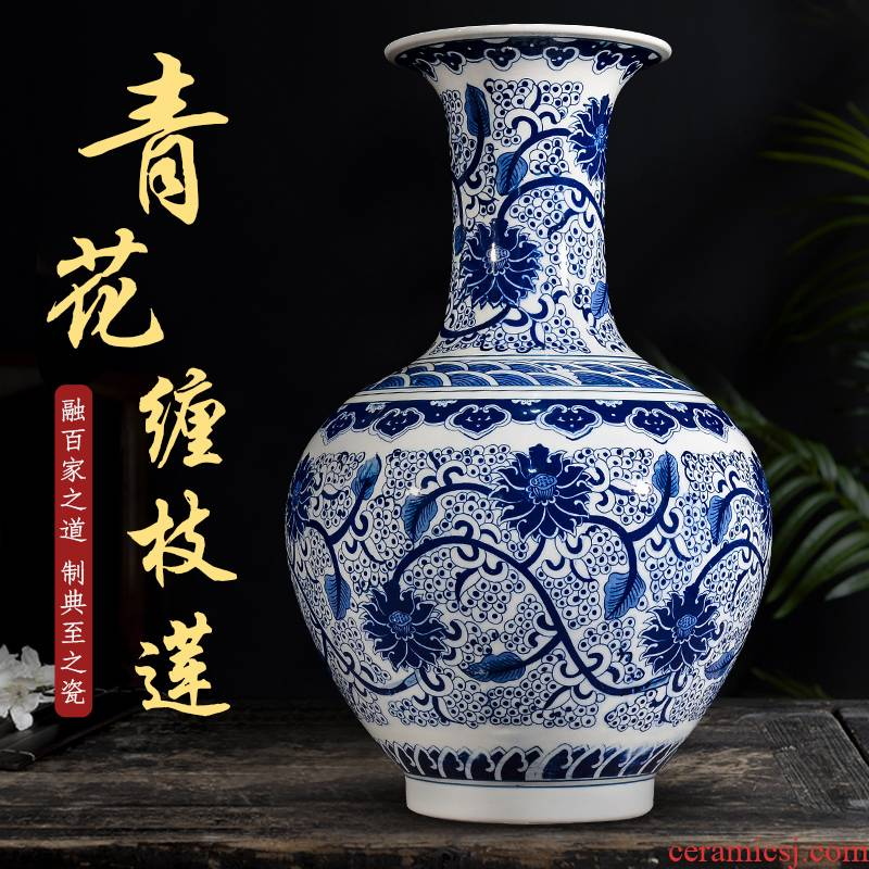 Jingdezhen blue and white ceramics bound branch lotus large vases, flower arranging household decorates sitting room porch place TV ark