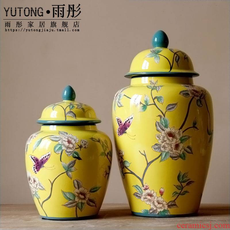 American country ceramic butterfly storage tank plate European model living room TV cabinet crafts home furnishing articles