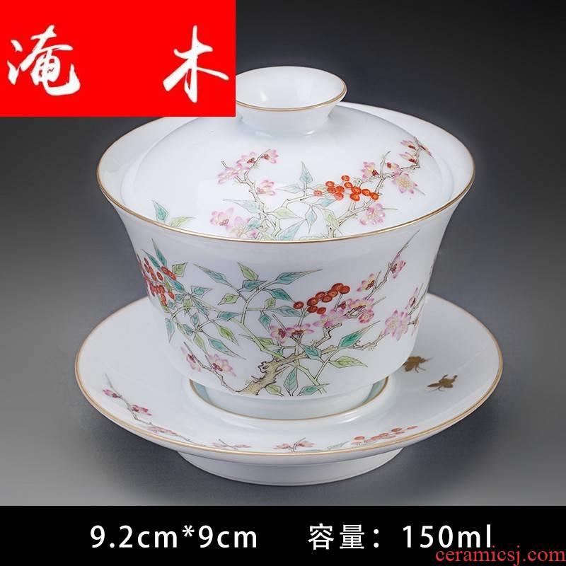 Submerged wood hand - made pastel tureen jingdezhen ceramic cups pure manual kung fu tea set three to tureen tea bowls