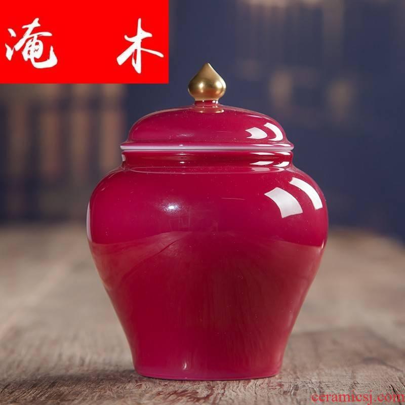Submerged wood jingdezhen checking ceramic hand - made carmine gold teapot kung fu tea set single pot of tea pot
