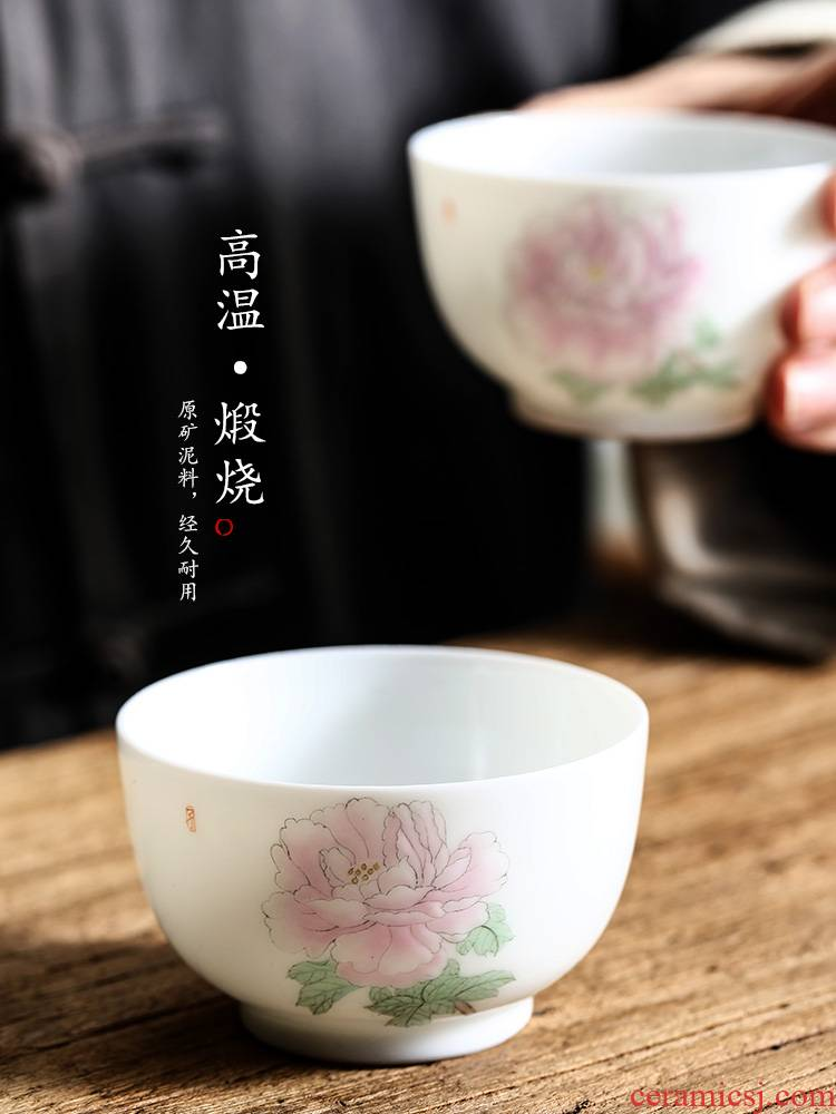Jingdezhen hand - made ceramic kung fu tea cups white porcelain sample tea cup single cup pure manual peony masters cup single tea set