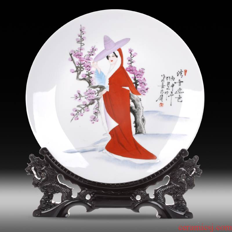 Jingdezhen ceramics sits hang dish contributor deep and remote color plate sitting room decoration plate of new Chinese style adornment desktop furnishing articles