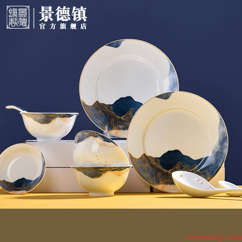 Jingdezhen flagship store ceramic tableware suit 0 gift the gift boxes of household to eat bread and butter of a complete set of high temperature porcelain