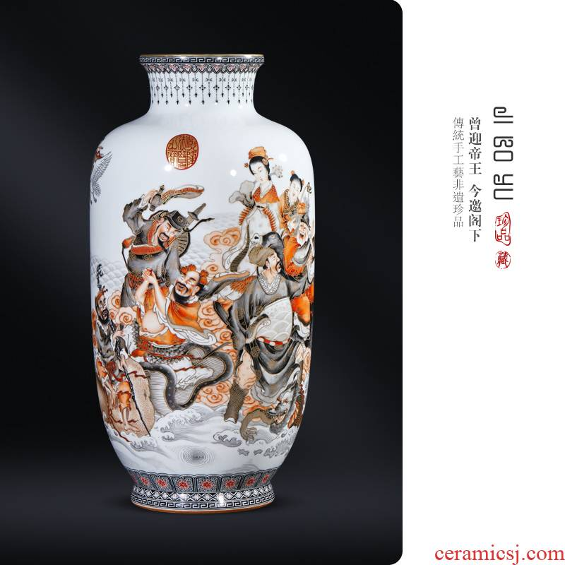 The Qing qianlong hand - made color ink paint ensemble vase Chinese jingdezhen ceramics sitting room porch decorate furnishing articles