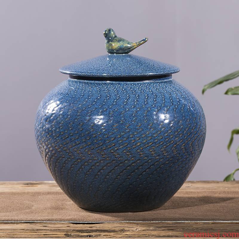 Jingdezhen ceramic barrel with cover seal storage tank household barrel kg30 20 jins of rice storage box