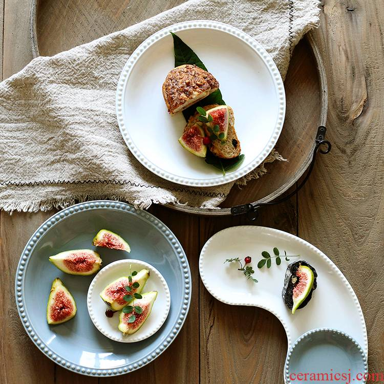 Creative Japanese vintage pearl edge ceramic breakfast dish dish soup plate vinegar dip disc household deep dish plate sushi plate