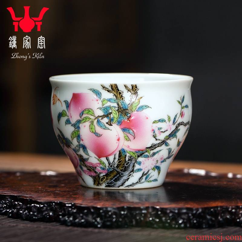 Clock at jingdezhen up sample tea cup high - grade hand - made ceramic peach colored enamel cup personal single CPU master CPU